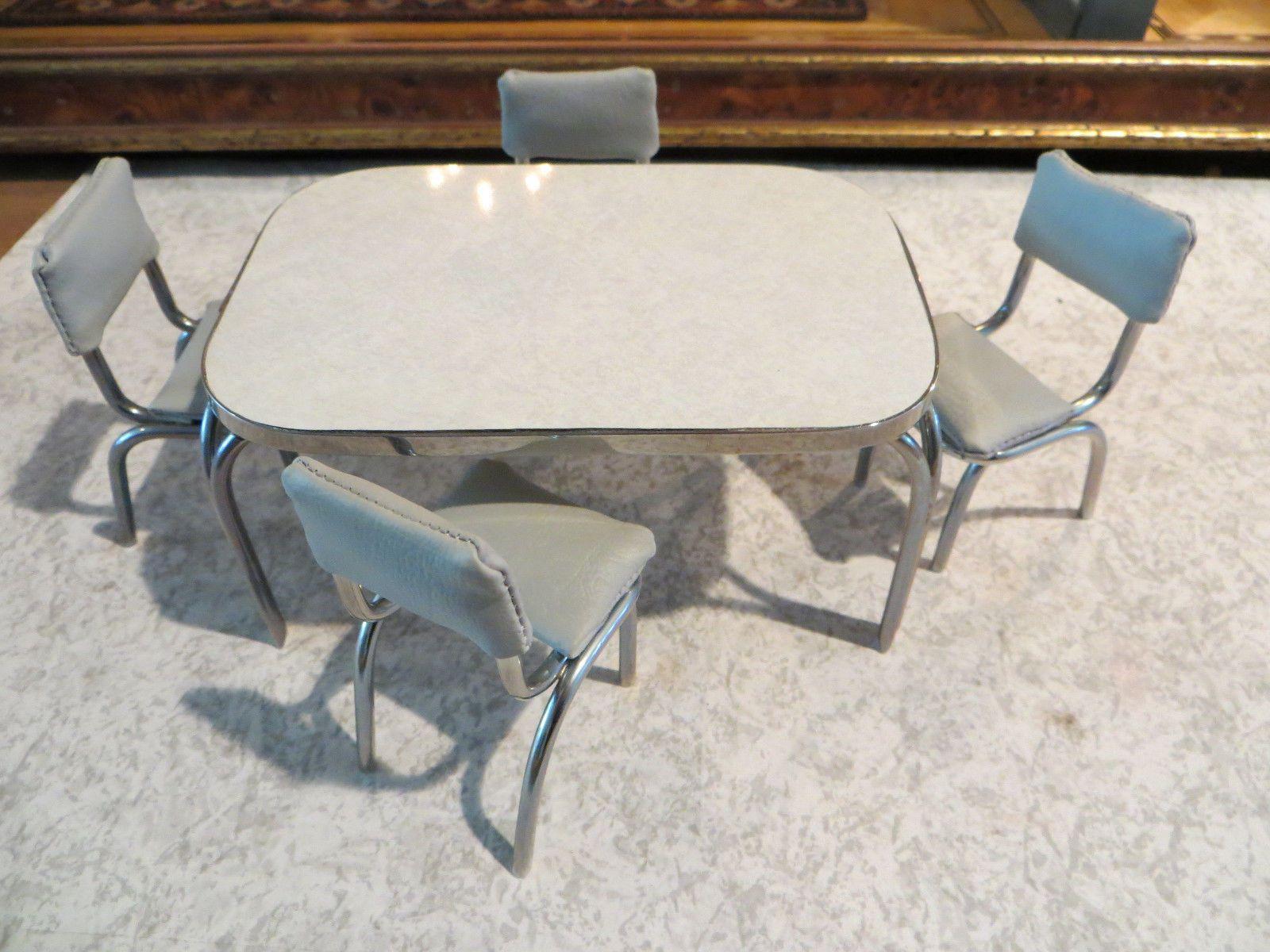 Miniature Artisan Signed Karen Fuller K J Metalworks Table and