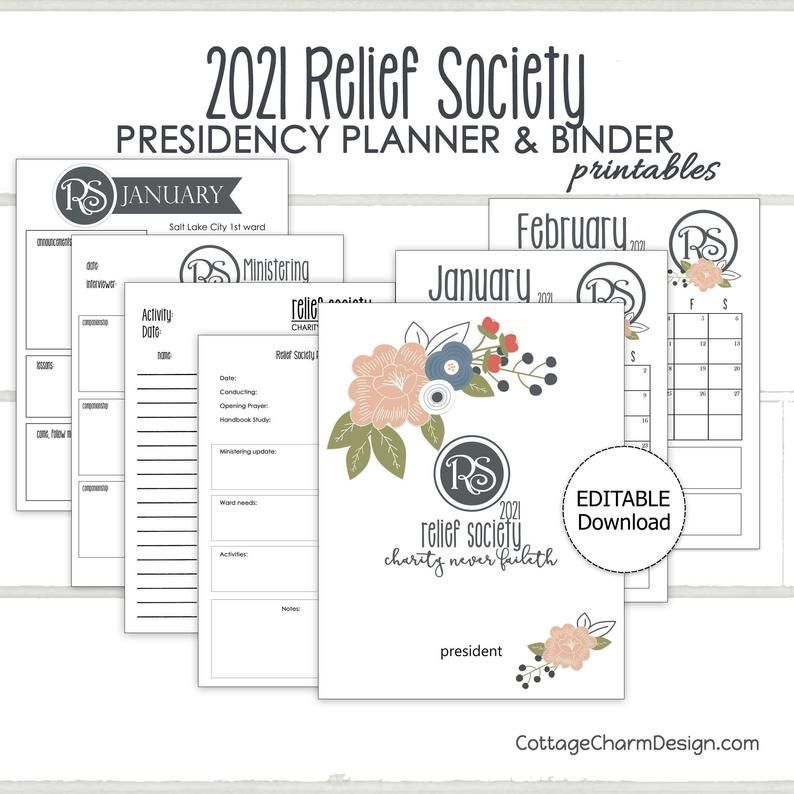 2021 Relief Society Planner Printable Relief Society Binders Relief Society Newsletter Template Instant Download Relief Society Relief Society Birthday Society