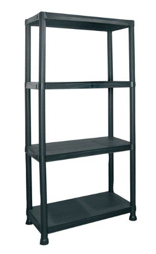 Strange 4 Tier Black Plastic Shelving Unit Storage Shelves Rack Interior Design Ideas Lukepblogthenellocom