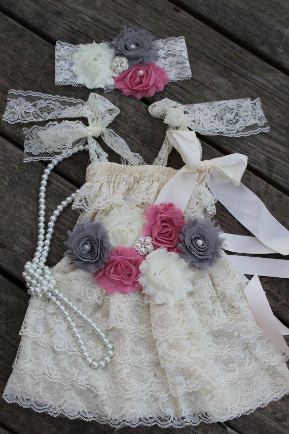 f2feecc94 Pink and Gray Petti Lace Dress 4 Pcs Set