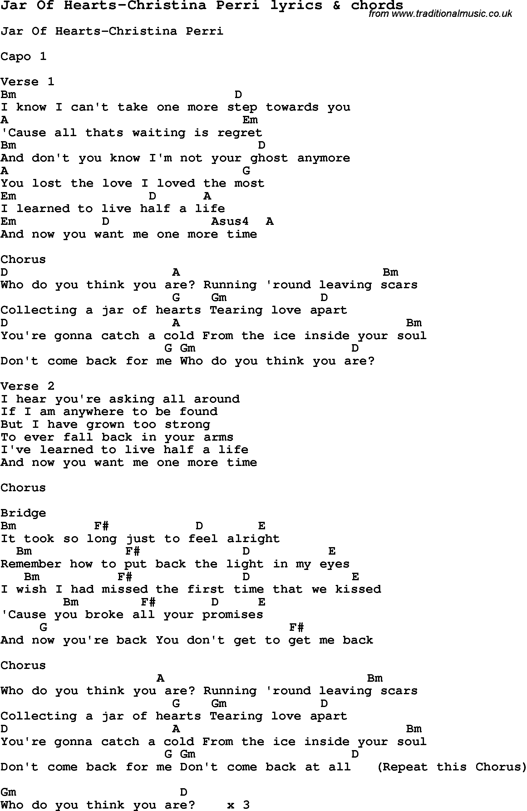 Love Song Lyrics For Jar Of Hearts Christina Perri With Chords For