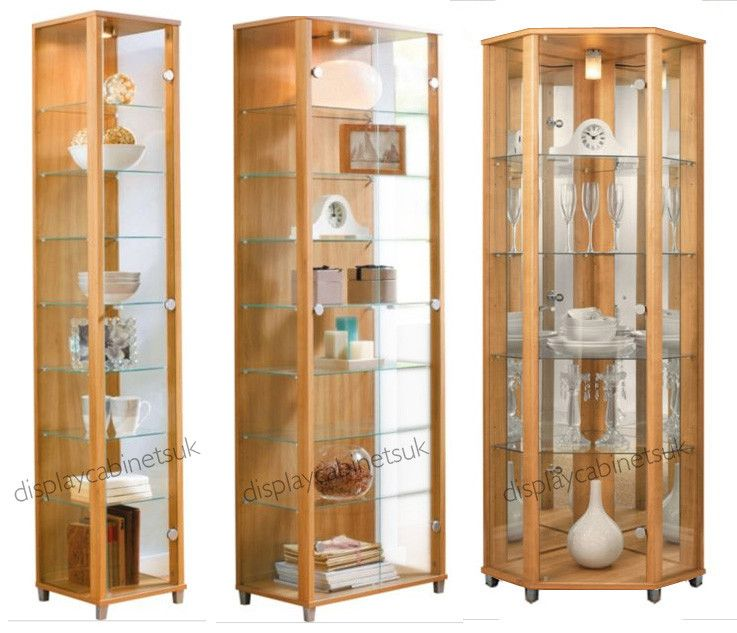 Oak Glass Display Cabinet Single Double Corner Display Cabinet - Display  Cabinets UK