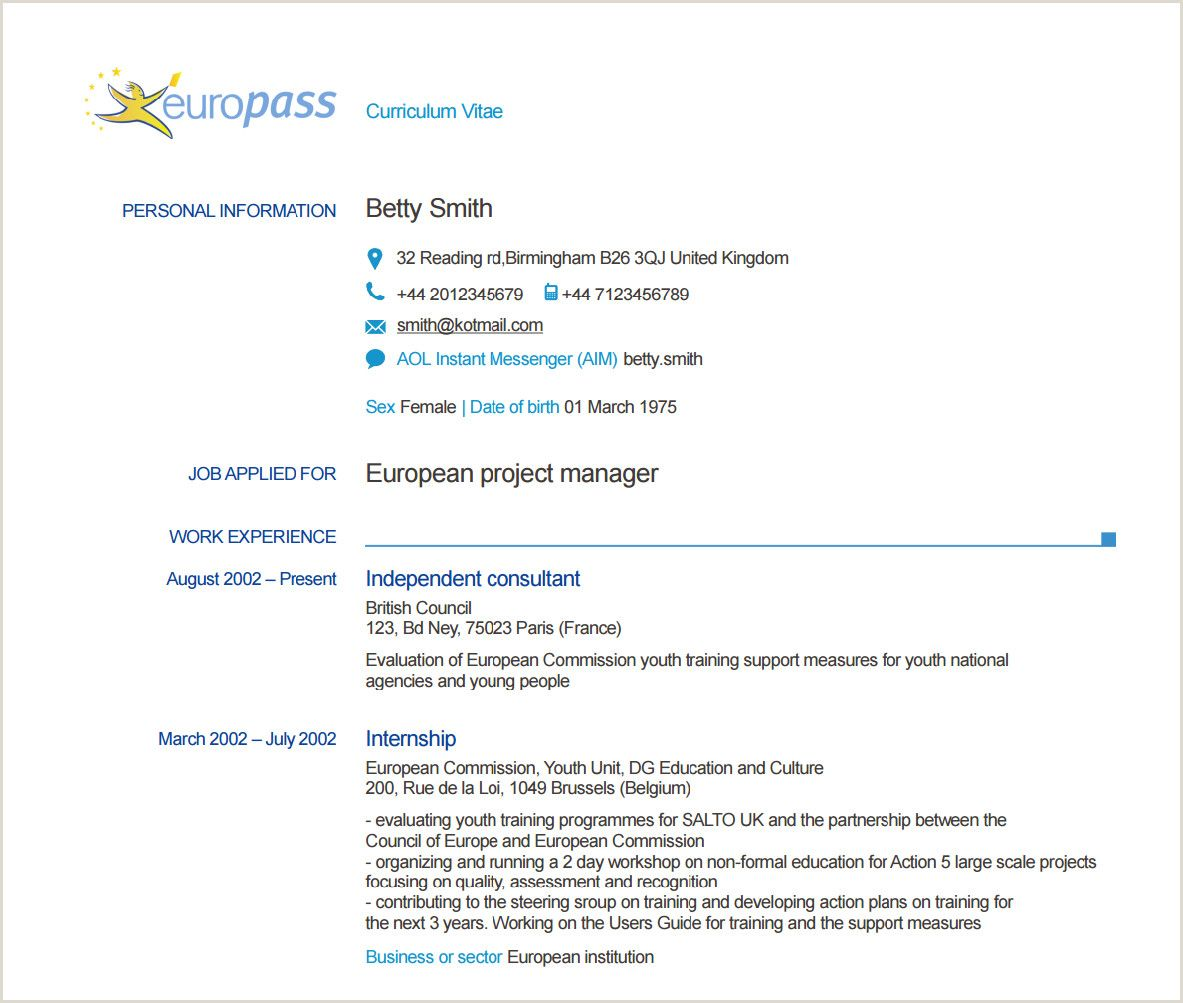 Cv In format Europass Online Resume examples, Student