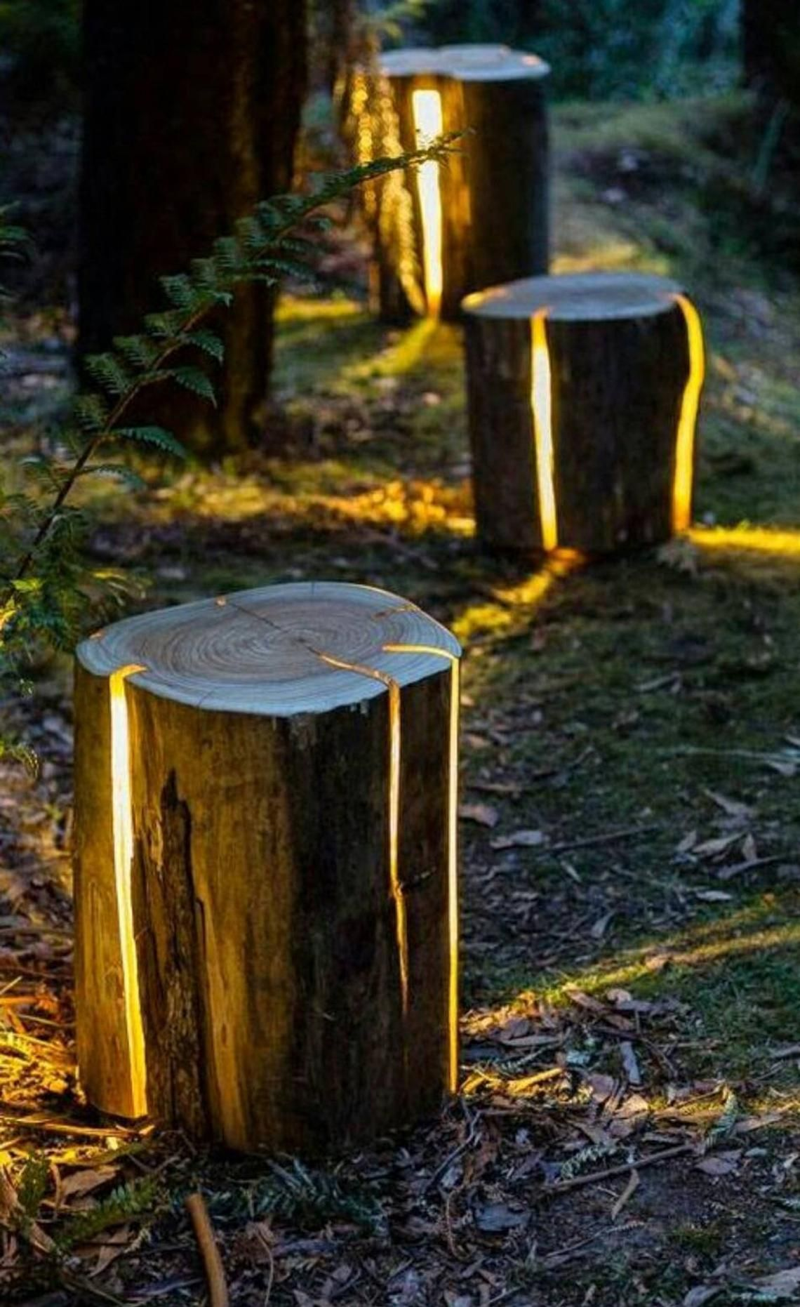 5 Rustic Outdoor Log Pathway Lighting