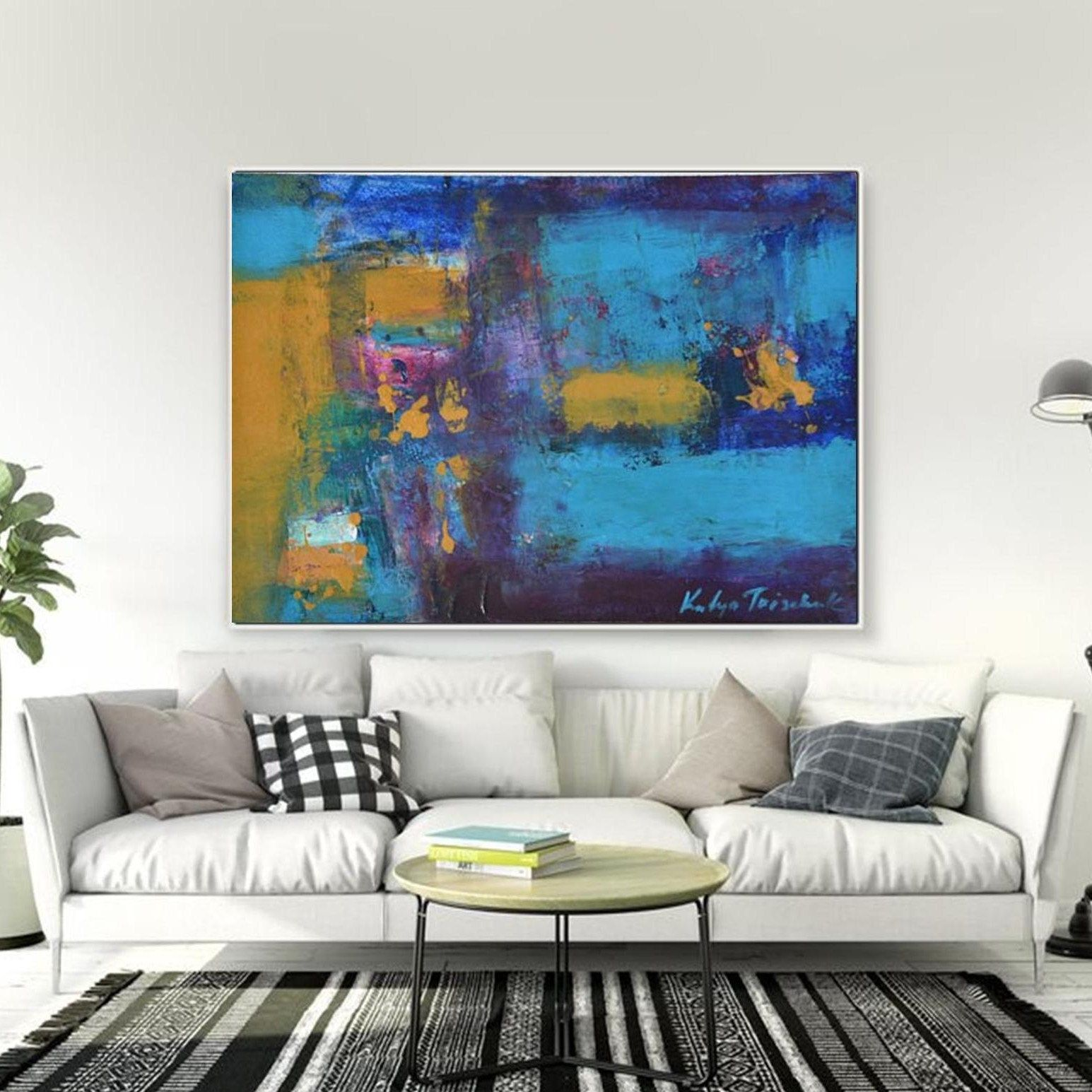 Cobalt blue wall decor abstract art giclee canvas print or original