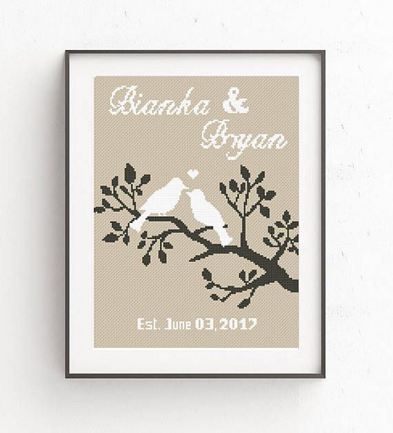 Wedding cross stitch pdf printable pattern love birds family tree wedding cross stitch pdf printable pattern love birds family tree diy personalized gift mr mrs marriage wedding gift embroidery animals solutioingenieria