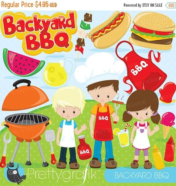 80 OFF SALE Backyard BBQ Clipart For Scrapbooking Bbq Kids Commercial Use