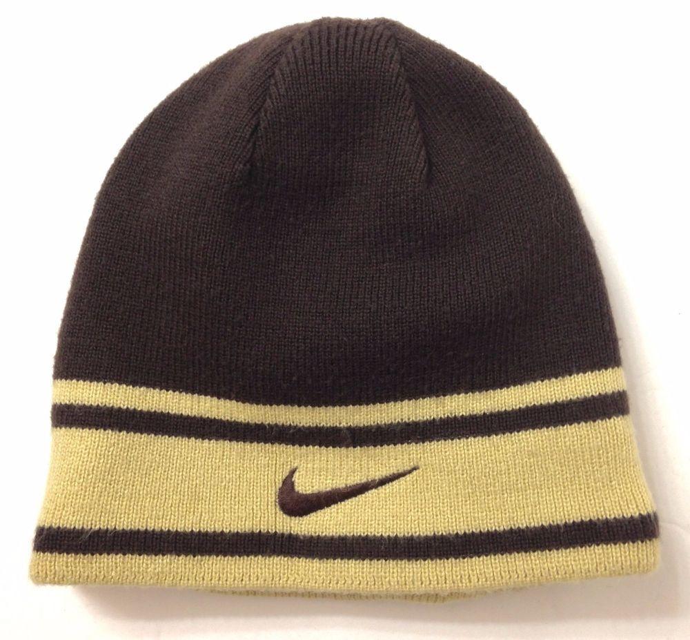 a50253fb35fdf NIKE REVERSIBLE BEANIE Brown Tan Beige Winter Knit Ski Skull Hat Men Women  SOFT!  Nike  Beanie
