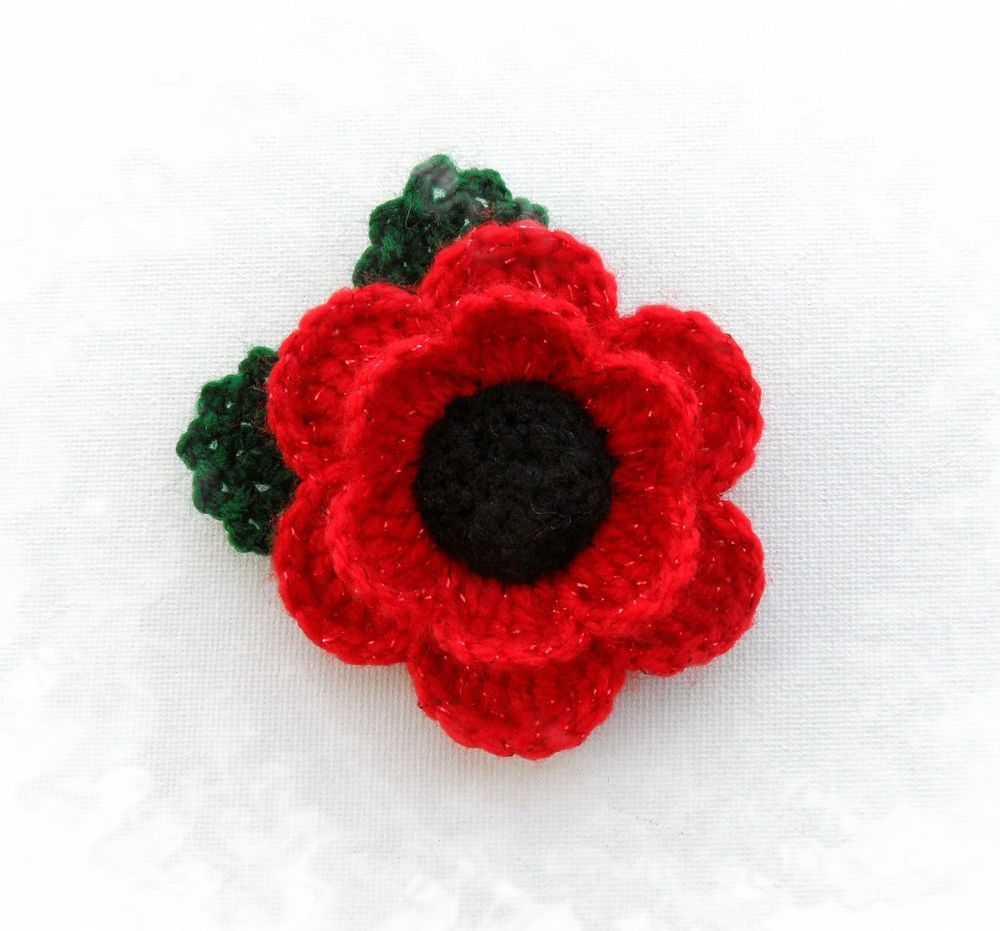 Hand crochet brooch applique red acrylic flower poppy flower ...