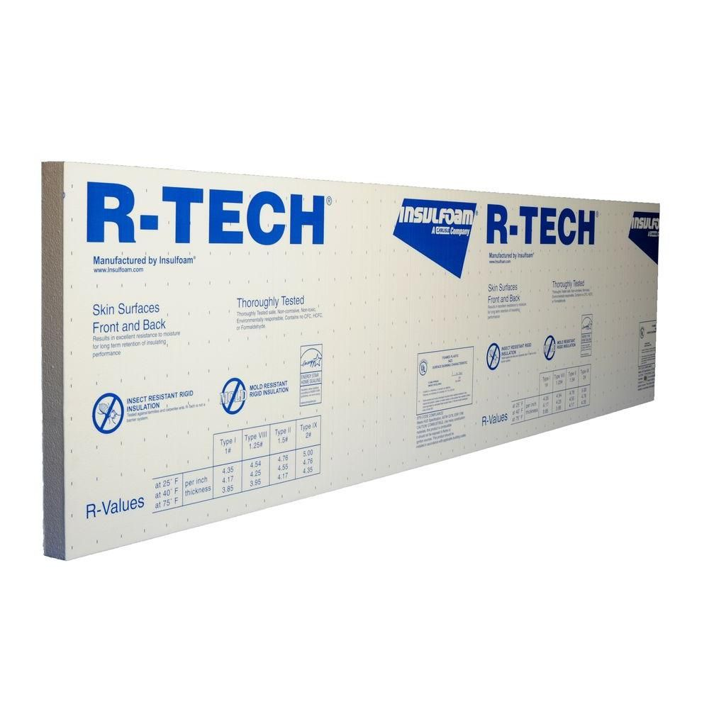 R Tech 1 In X 4 Ft X 8 Ft R 3 85 Insulating Sheathing 320821 The Home Depot Garage Door Insulation Rigid Foam Insulation Door Insulation