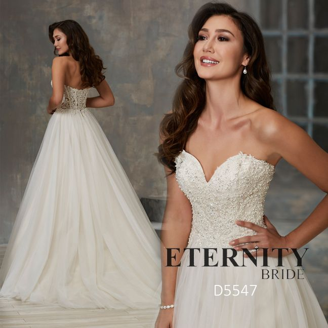 Beaded Lace Covers This Strapless, Sweetheart Neckline