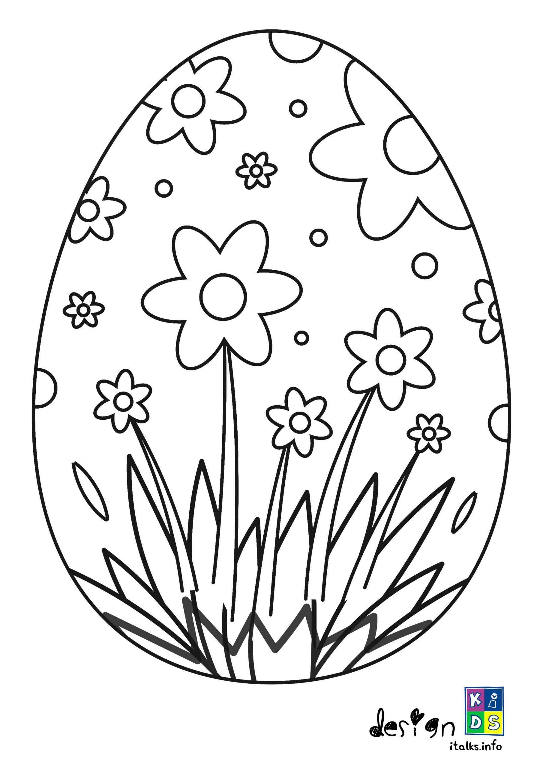 Easter Egg and Flower Coloring Page For Girls in 2020