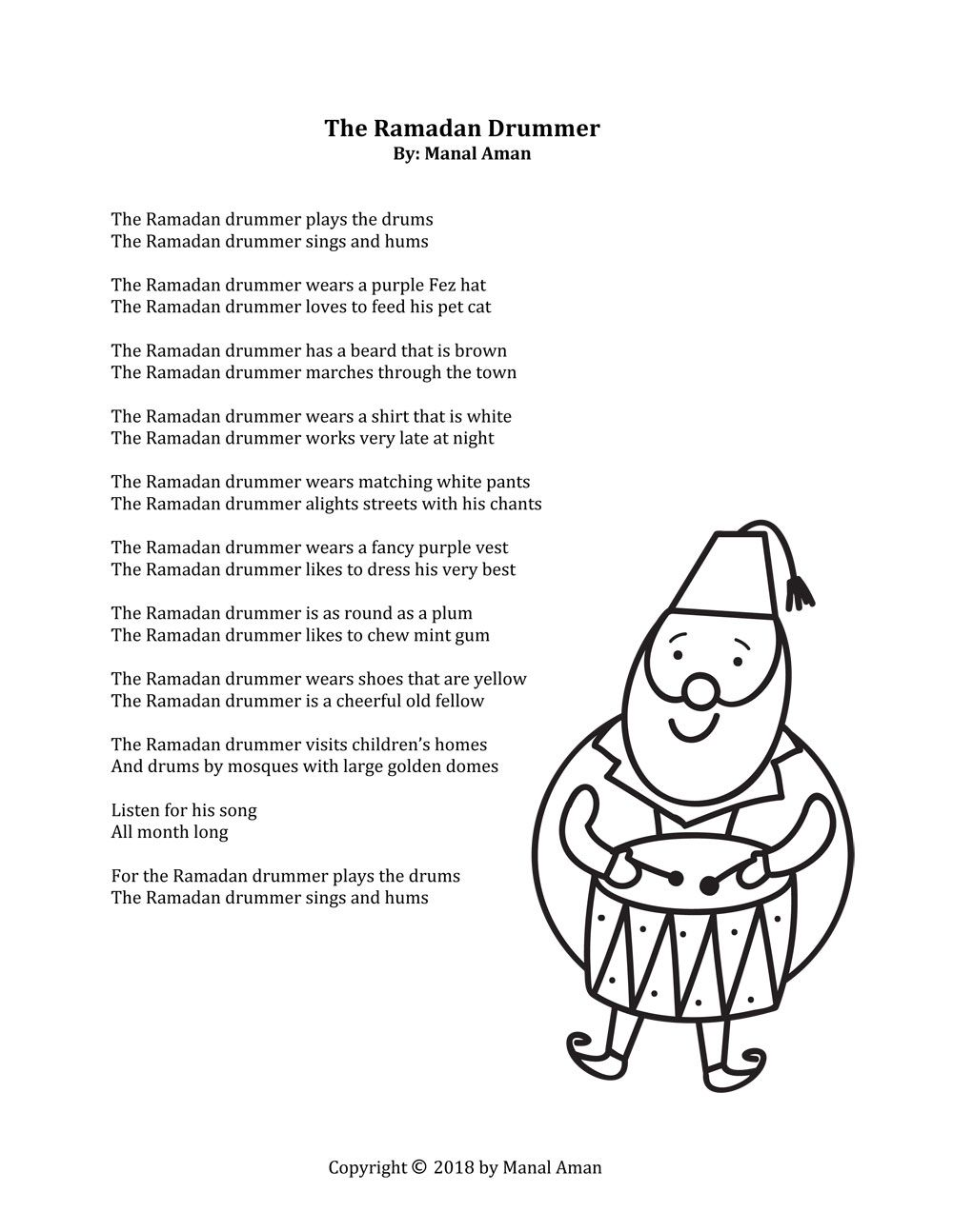 Poem the ramadan drummer by manal aman free printable on hello holy days