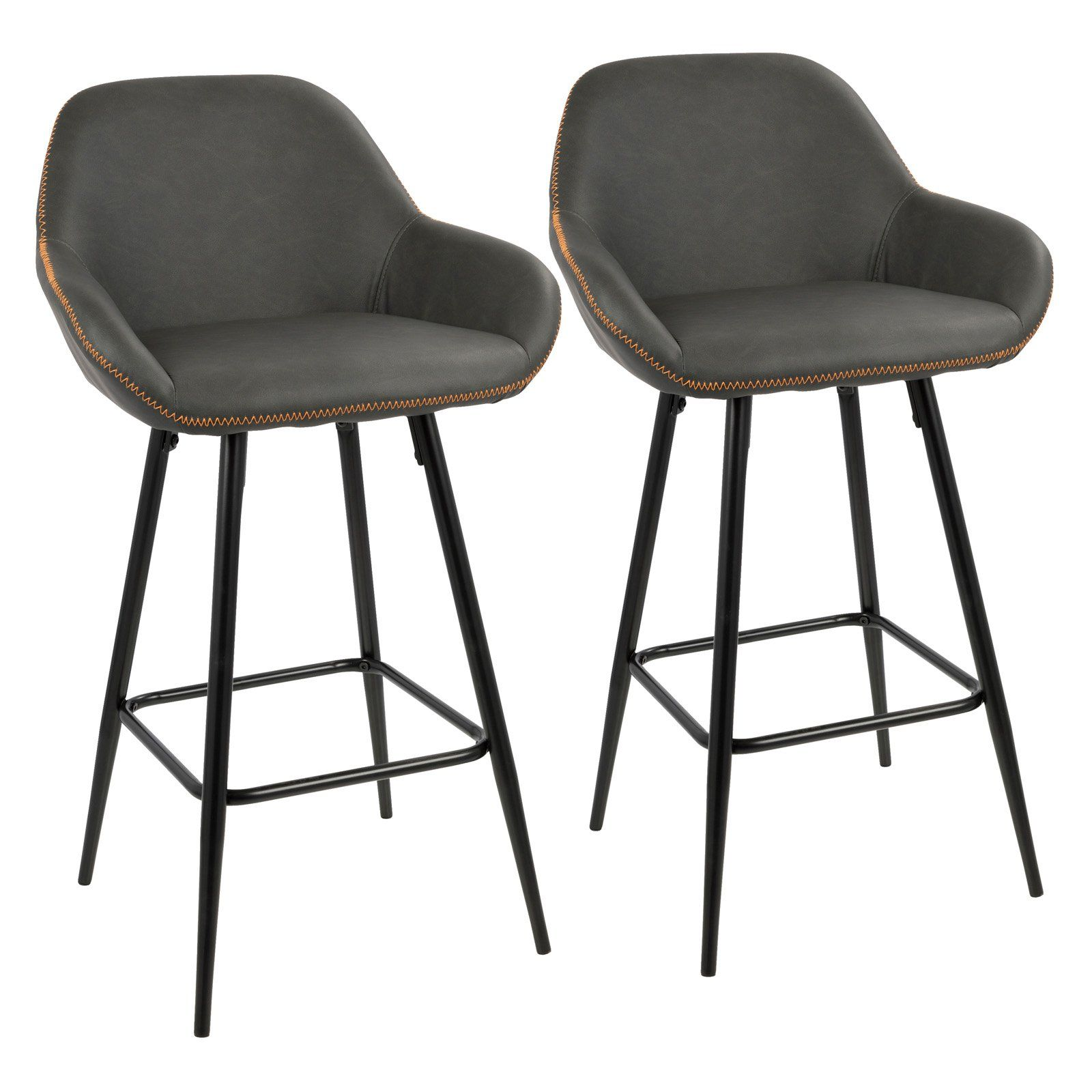 Lumisource Clubhouse 26 In Faux Leather Counter Stool Set Of 2