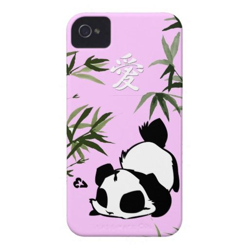 Cute Chinese Love Panda with Bamboos iPhone 4 Case