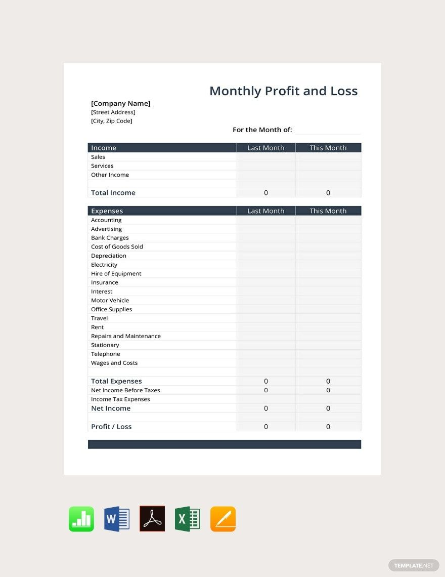 Monthly Profit And Loss Template Free Pdf Google Docs Google Sheets Excel Word Apple Numbers Apple Pages Template Net Profit And Loss Statement Words Statement Template Monthly profit and loss template
