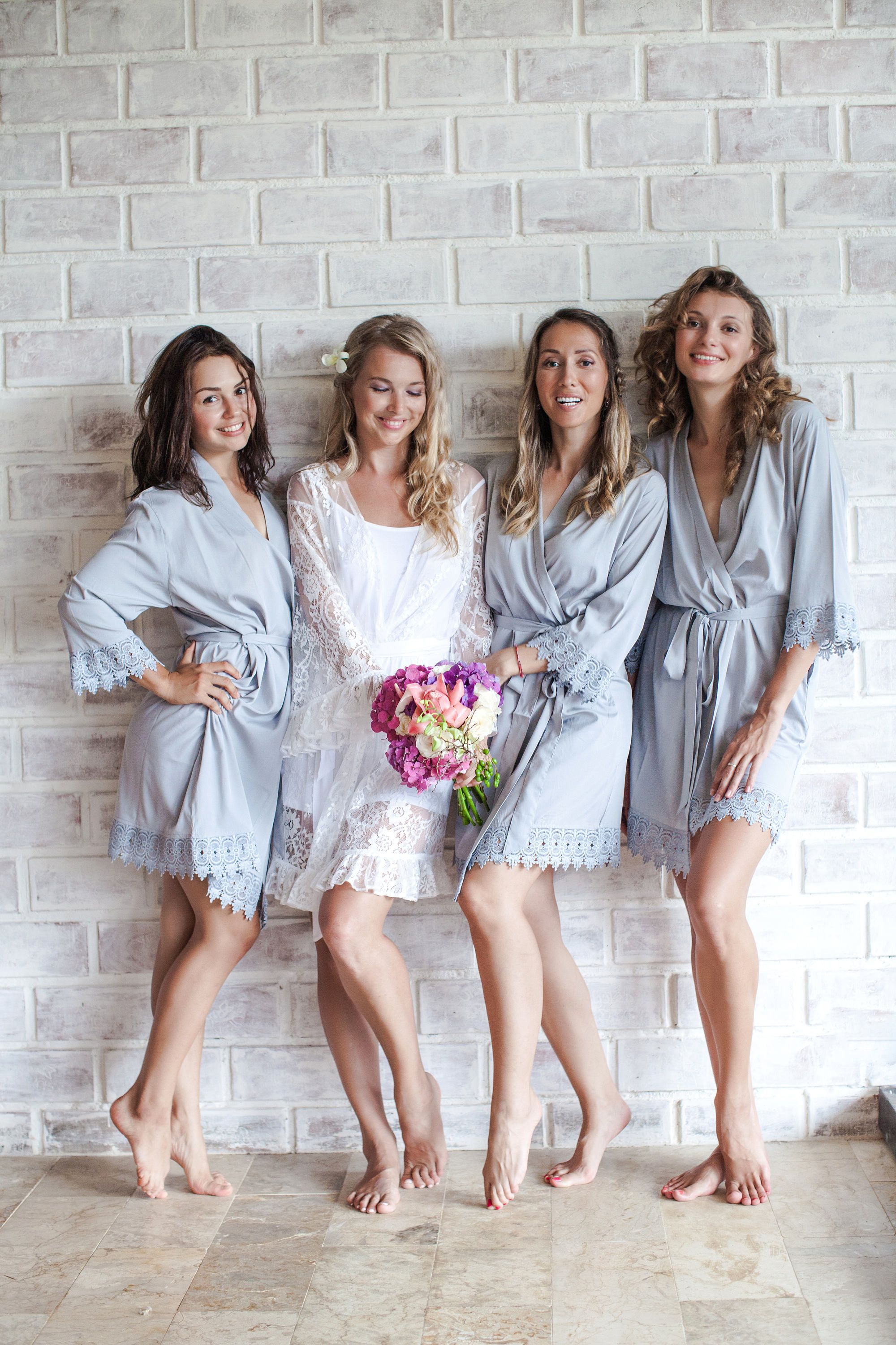 We Re Swooning Over The Color Of These Bridesmaids Robes Bridal Party Robes Dusty Blue Wedding Gettin Bridesmaid Robes Bridesmaid Robe Gift Bridal Robes