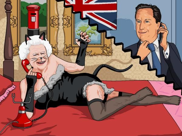 "Jim'll Paint It on Twitter: ""The Queen dressed as a cat purring down the phone to David Cameron - as requested by Michael Gibb #purrgate http://t.co/2B9B8njUSQ"""