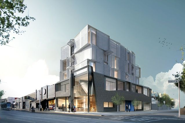 The John Wardle Architects Prahran project sits on the corner of Malvern Road and Francis Street.