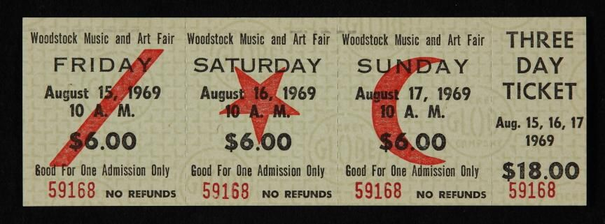 original ticket for woodstock 1969