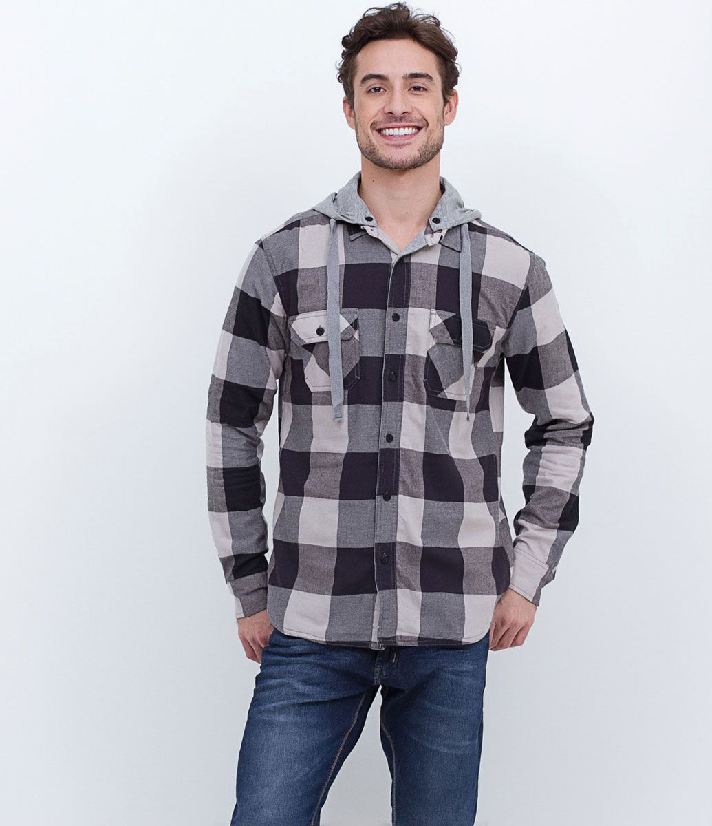 Camisa masculina Xadrez Manga longa Com bolsos Com capuz Com forro Marca   Blue Steel Tecido 3628211fc9264