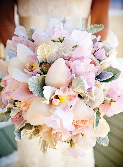Exotic Romantic Bridal Bouquet Which Showcases Pink Garden Roses Pastel Cymbidium Orchids Sweet Pea Dusty Green Lambs Ear