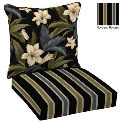 Hampton Bay Reversible Black Tropical Blossom Welted 2 Piece Deep Seating  Outdoor Dining Chair Cushion