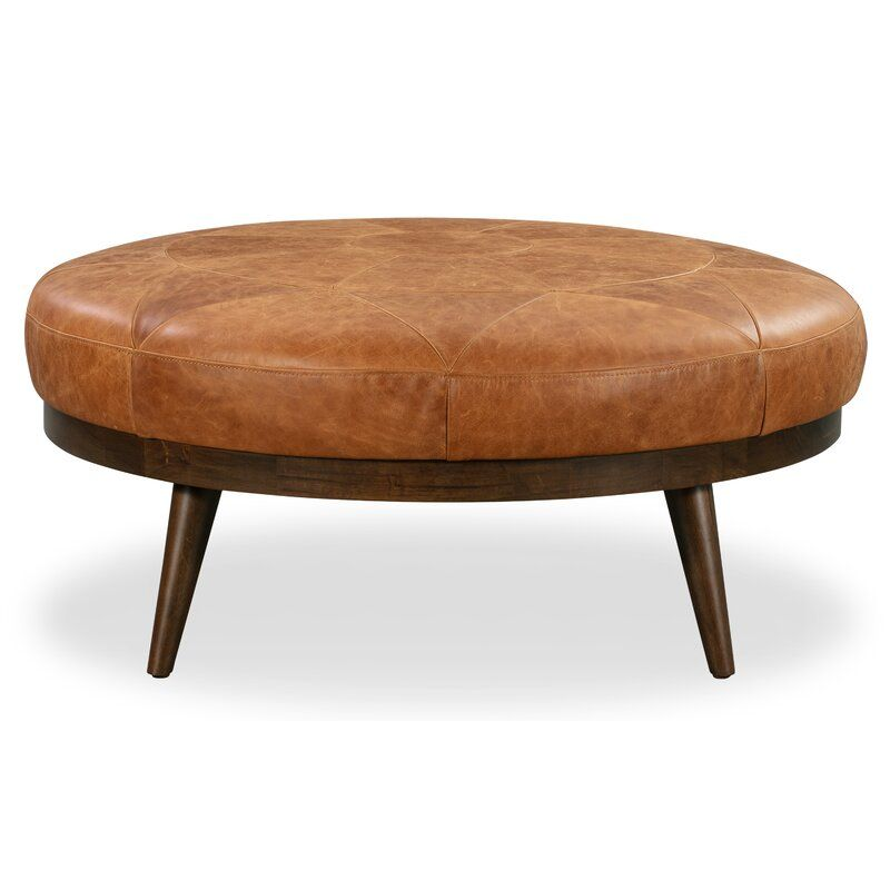 Rowland Leather Cocktail Ottoman Leather Cocktail Ottoman Round