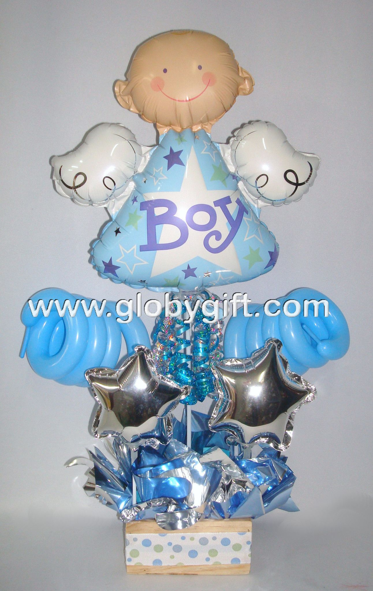 Centro de mesa con globos baby shower ni o pinterest for Mesa baby shower nino
