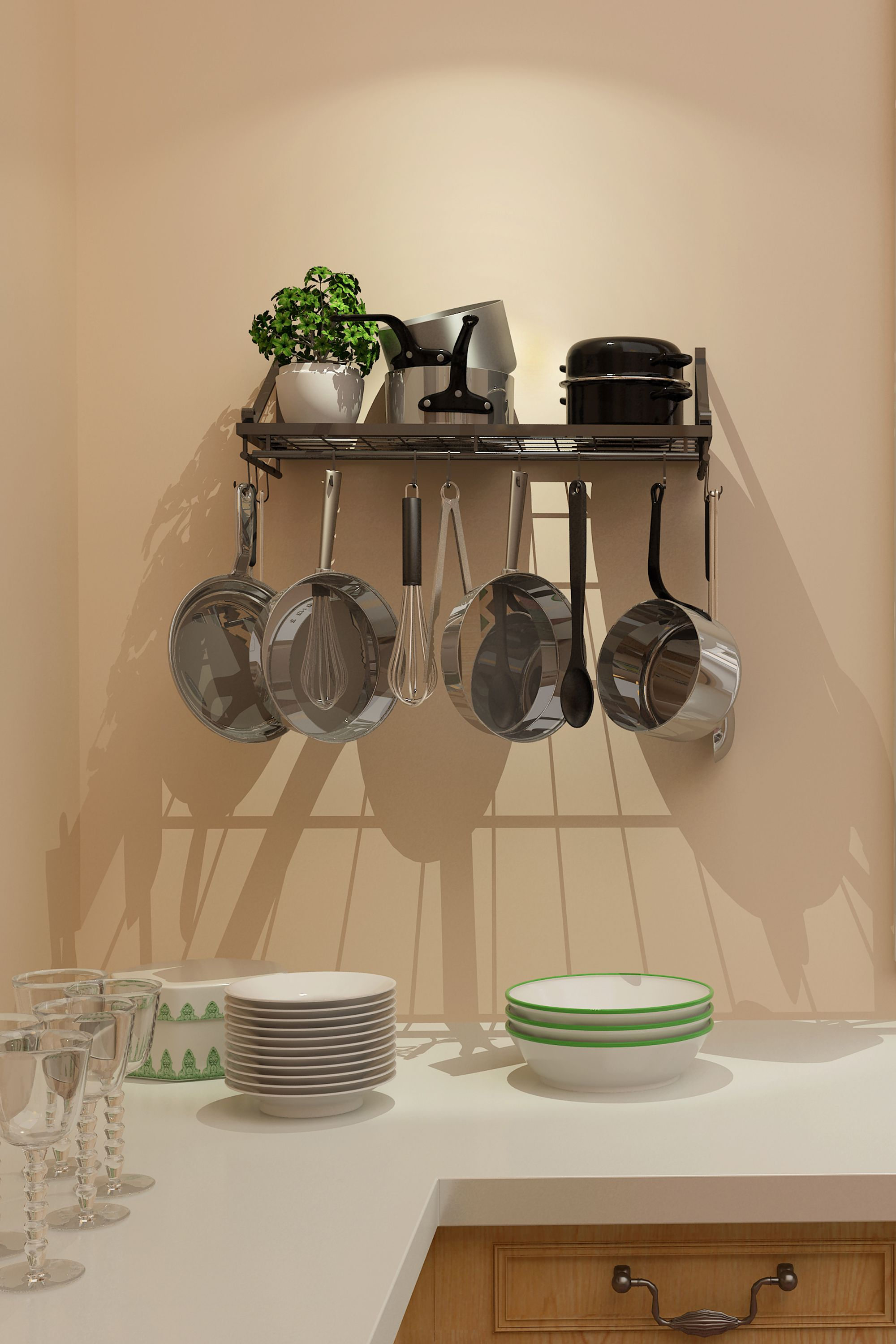 Pot Racks In A Corner Without Upper Cabinet Unobtrusive But Great Make The Best Use Of Storage Space Your Kitchen 39 9 Cool Kitchens Kitchen Decor Pot Rack