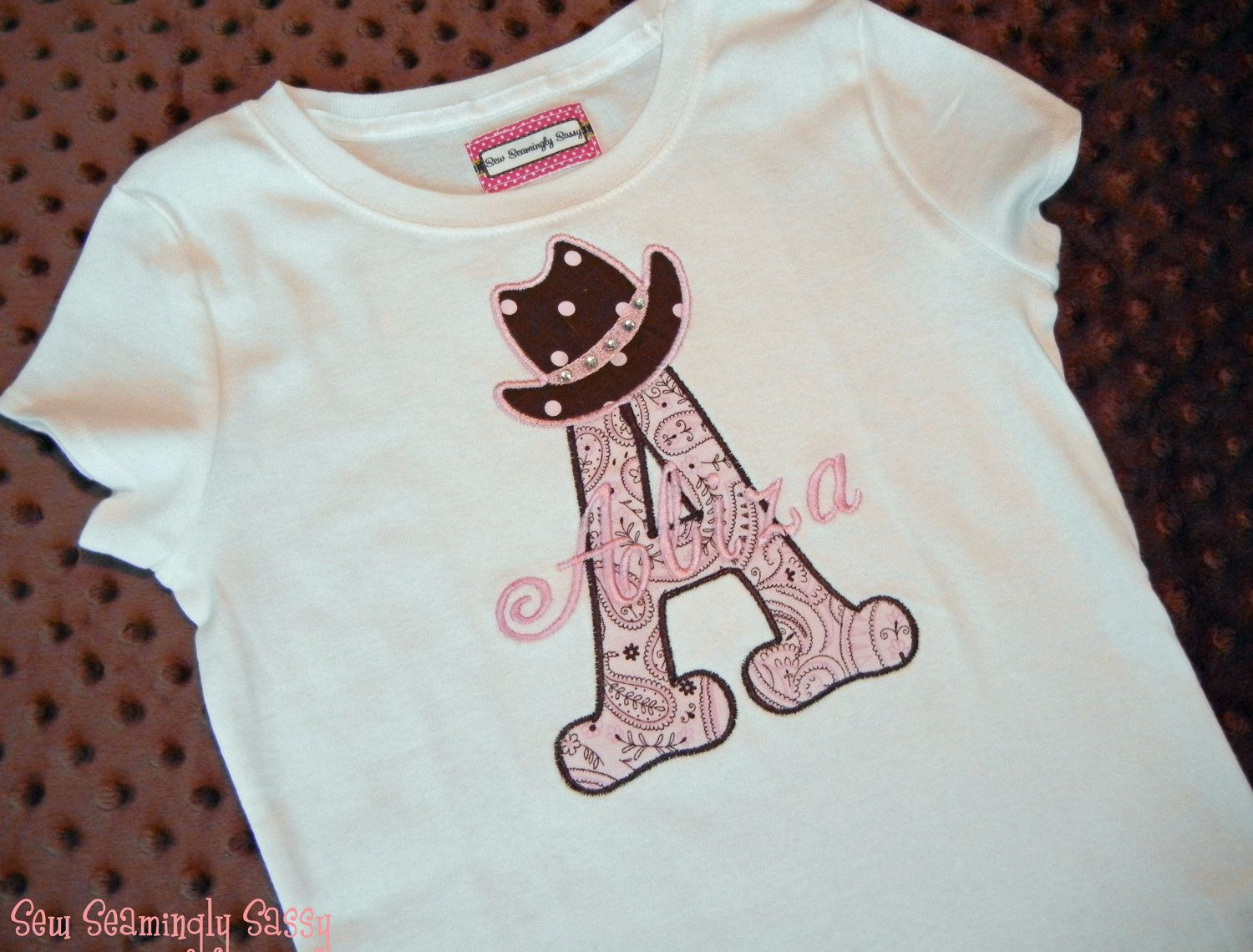 Girls personalized western applique shirt adlee and brantley