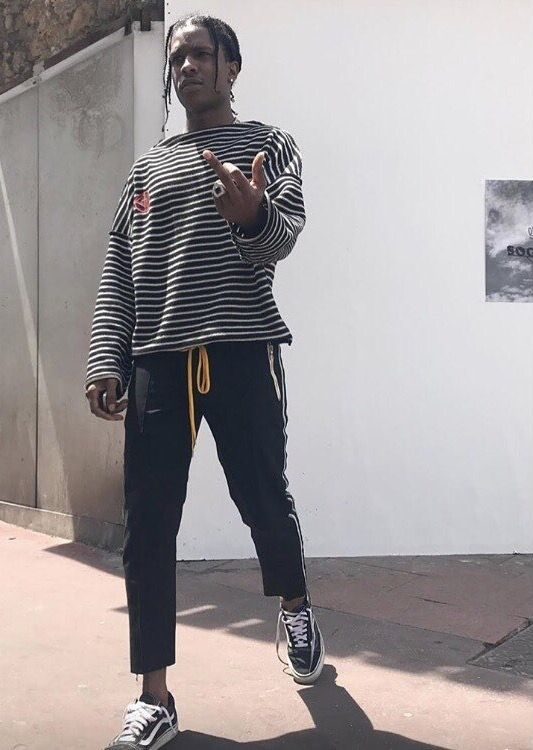 ASAP Rocky Seen Wearing Gosha Rubchinskiy Sweatshirt, Rhude Pants And Vans  Sneakers
