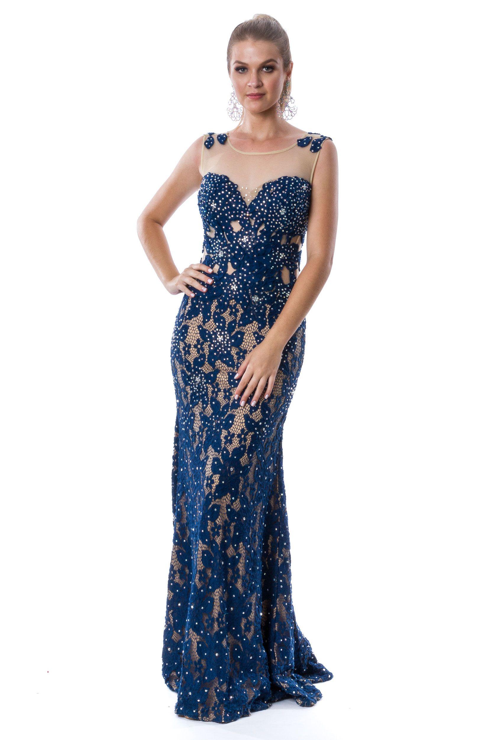1e3da20396 vestido de festa azul marinho em renda com forro nude e bordado em pontos  de luz