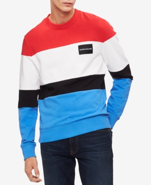a263cb324 Calvin Klein Jeans Men's Colorblocked Logo Sweatshirt - Red White and Blue  Stripe M