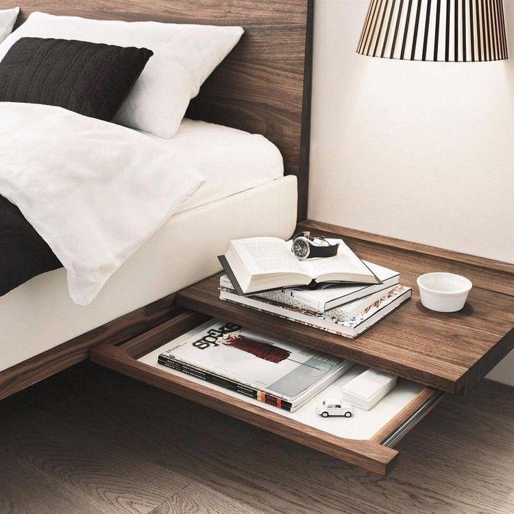 table de chevet suspendue pour am nager un coin lit a rien. Black Bedroom Furniture Sets. Home Design Ideas