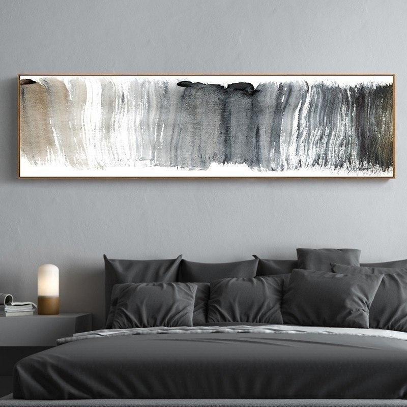 Abstract Panoramic Wall Art Shades Of Gray Black White Fine Art
