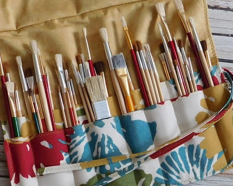 Double artist brush roll brush organizer paint brush
