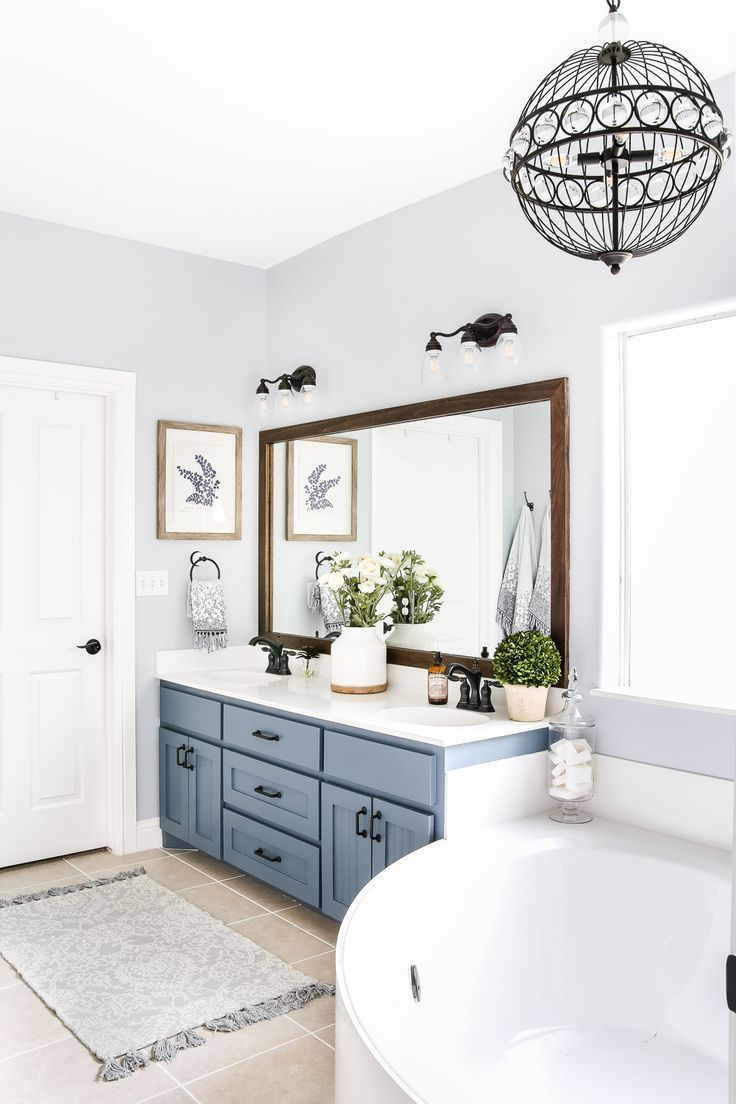 Industrial Rustic Master Bath Retreat Slate Blue and Cabinets