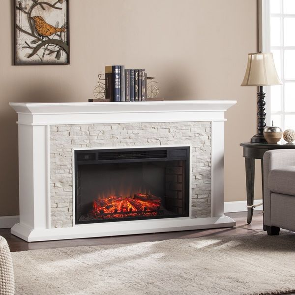Harper Blvd Utley White Faux Stone Widescreen Electric Fireplace ...