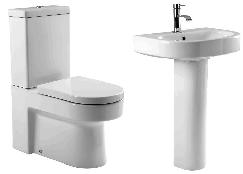 Viti 4 Piece Set, 60cm Basin, WC, WC Luxury Soft Close Seat & Full Pedestal