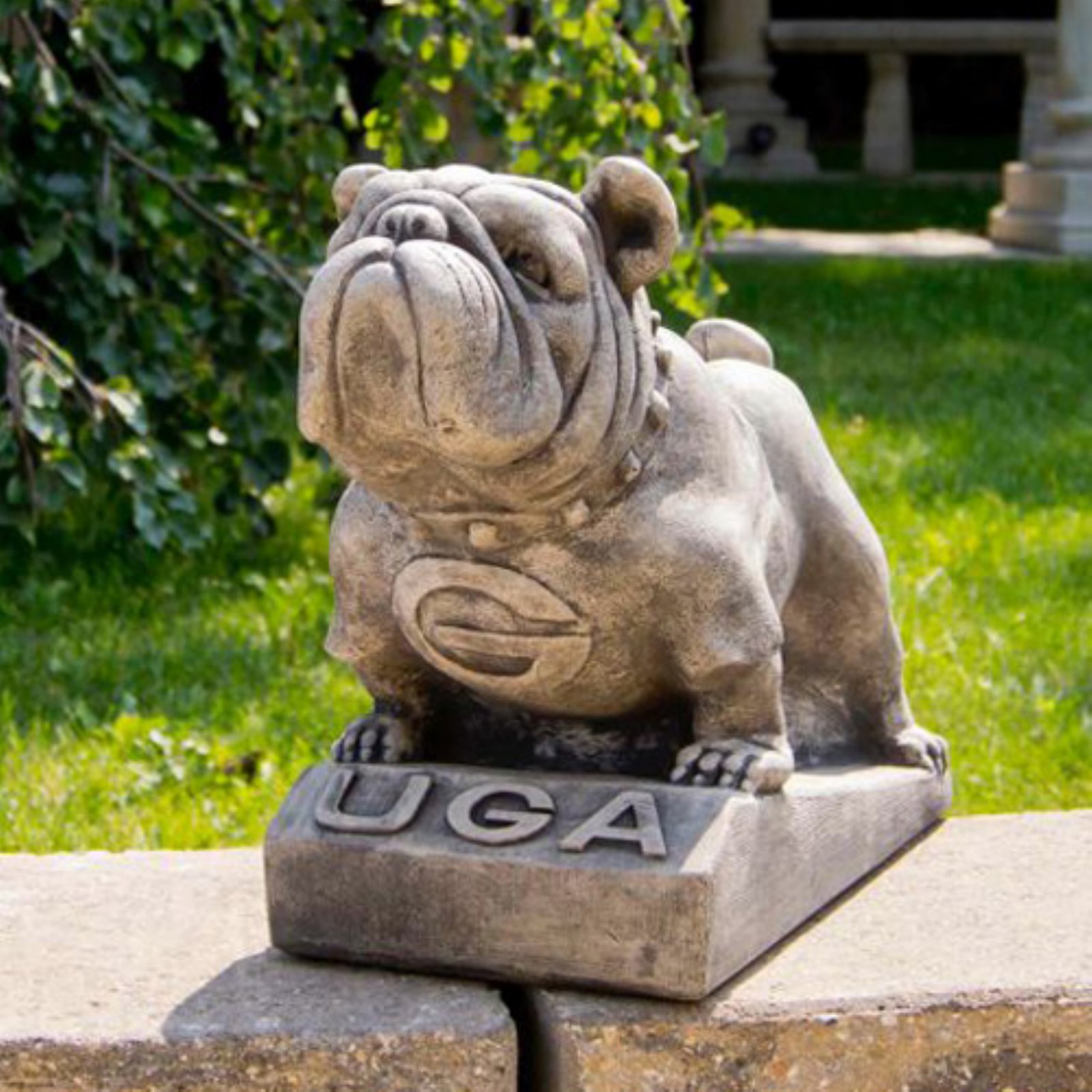 Sandicast Life Size Fawn Bulldog Puppy Sculpture Sitting By