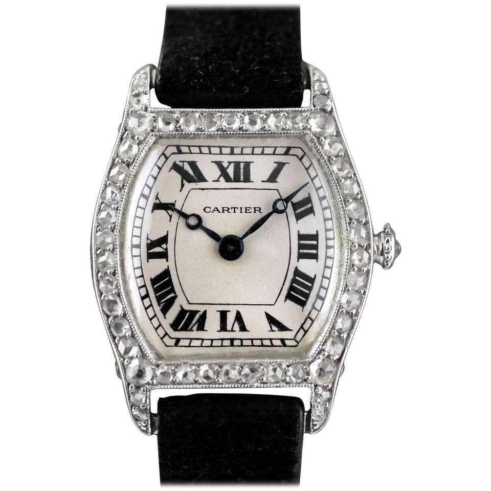 Cartier platinum diamond art deco tortue wristwatch circa