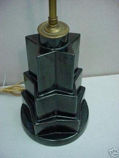 Art Deco Star Shape Table Lamp In Black High Gloss Glaze By The Sebring  Pottery C.1931. Lamp Bears Original Paper Label