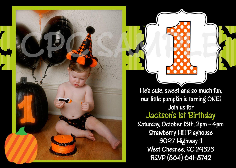 Fall Pumpkin Birthday Invitation Halloween Pumpkin 1st Birthday ...