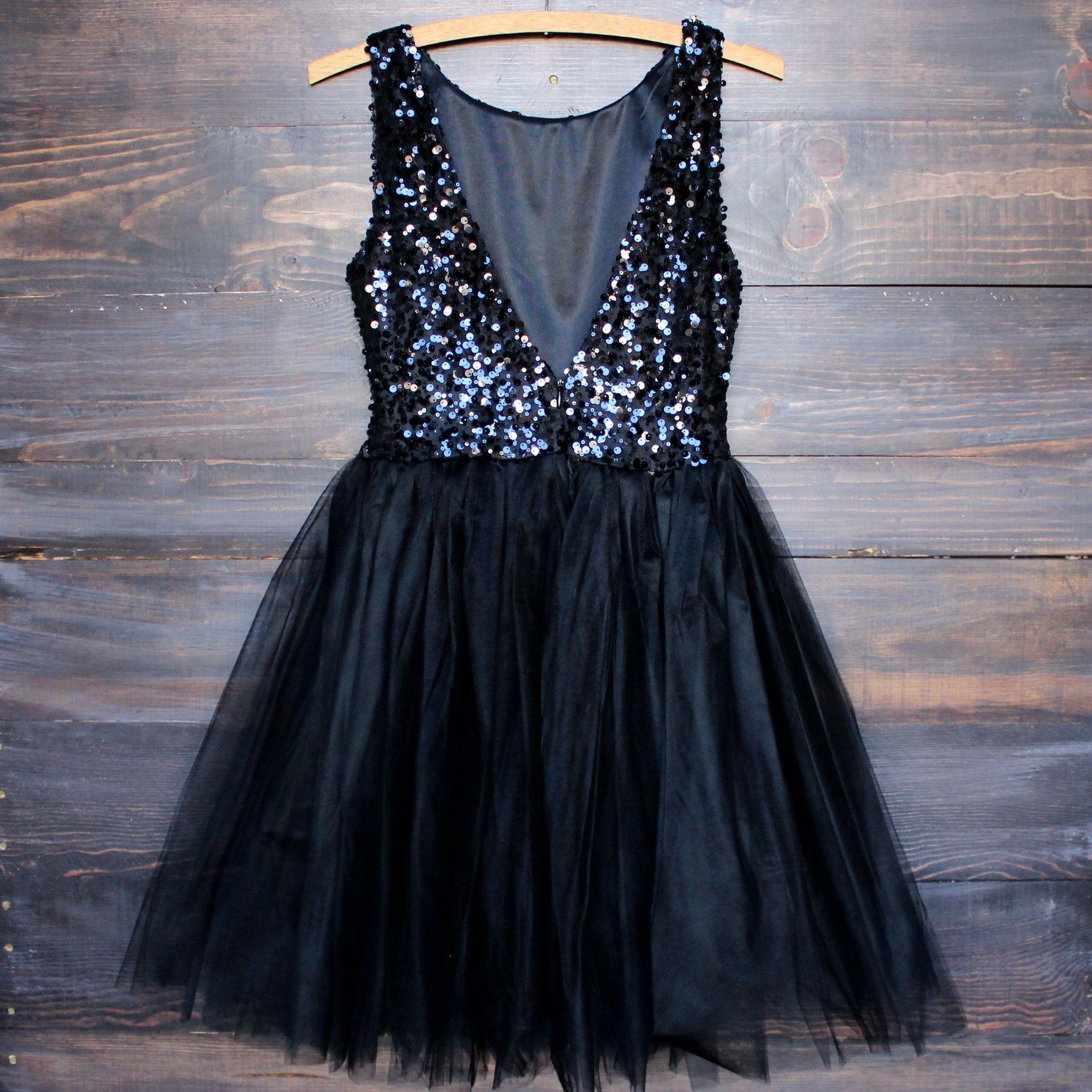 Sugar plum dazzling black sequin darling party dress prom