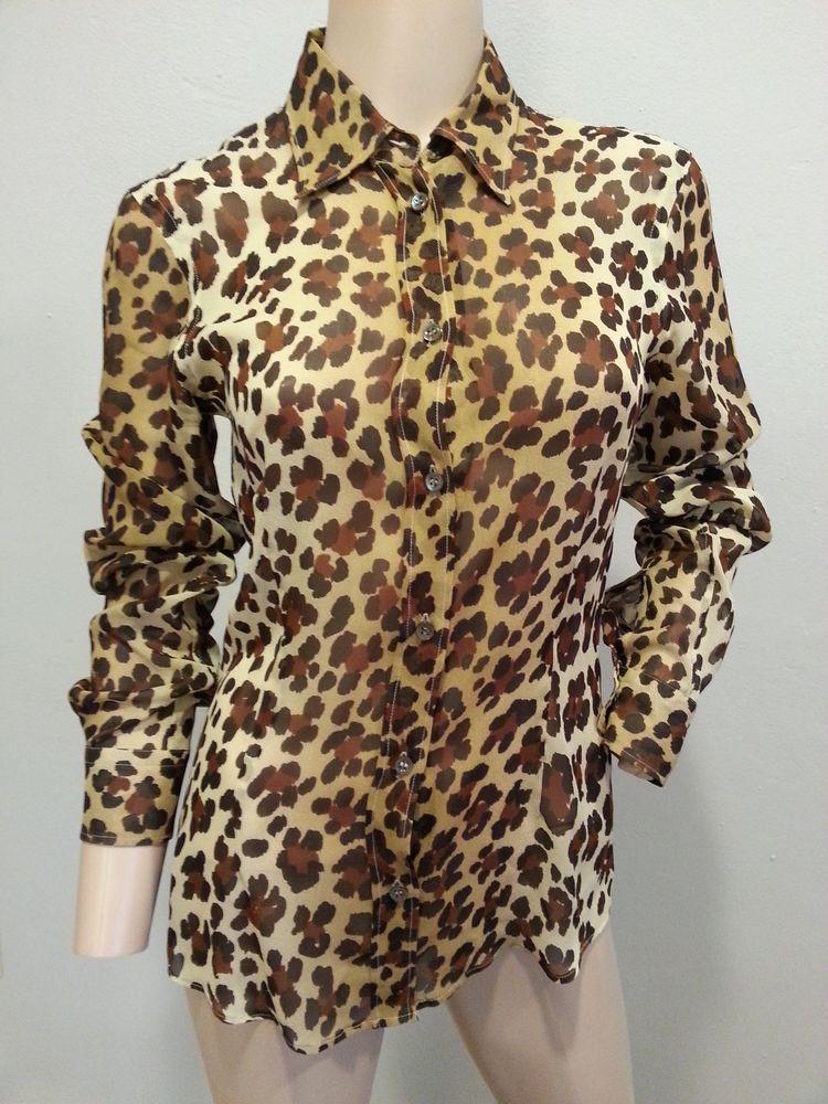 bccf7618fda7fd Moschino Cheap   Chic Italy Sheer Chiffon Silk Leopard Print Blouse Top 40  US 6  Moschino  Blouse