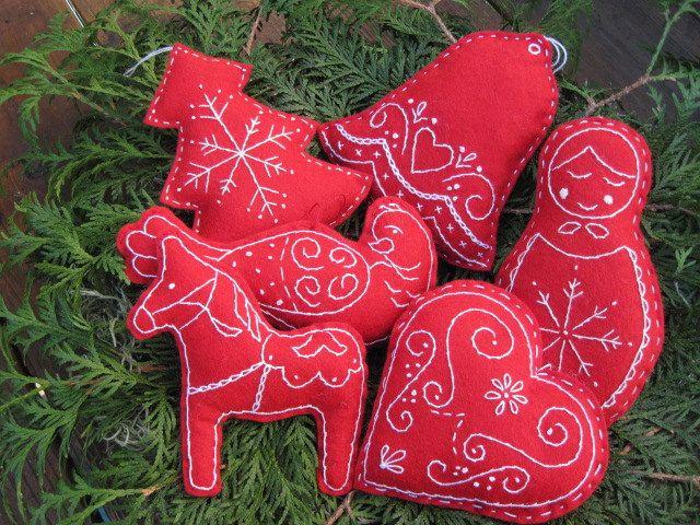 Scandinavian Embroidered Christmas Bowl Fillers Tree Scandinavian Christmas Scandinavian Christmas Ornaments Christmas Bowl
