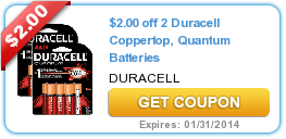image about Duracell Battery Coupons Printable titled $2.00 off 2 Duracell Coppertop, Quantum Batteries #coupon