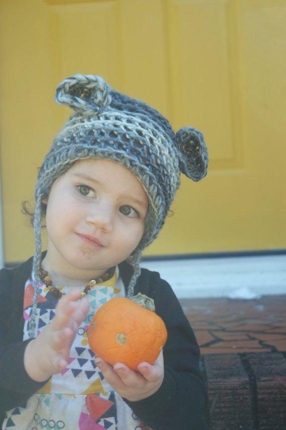 5e31a4f77 GREY ombre crocheted hat - wool hat - teddy bear ears - warm winter ...