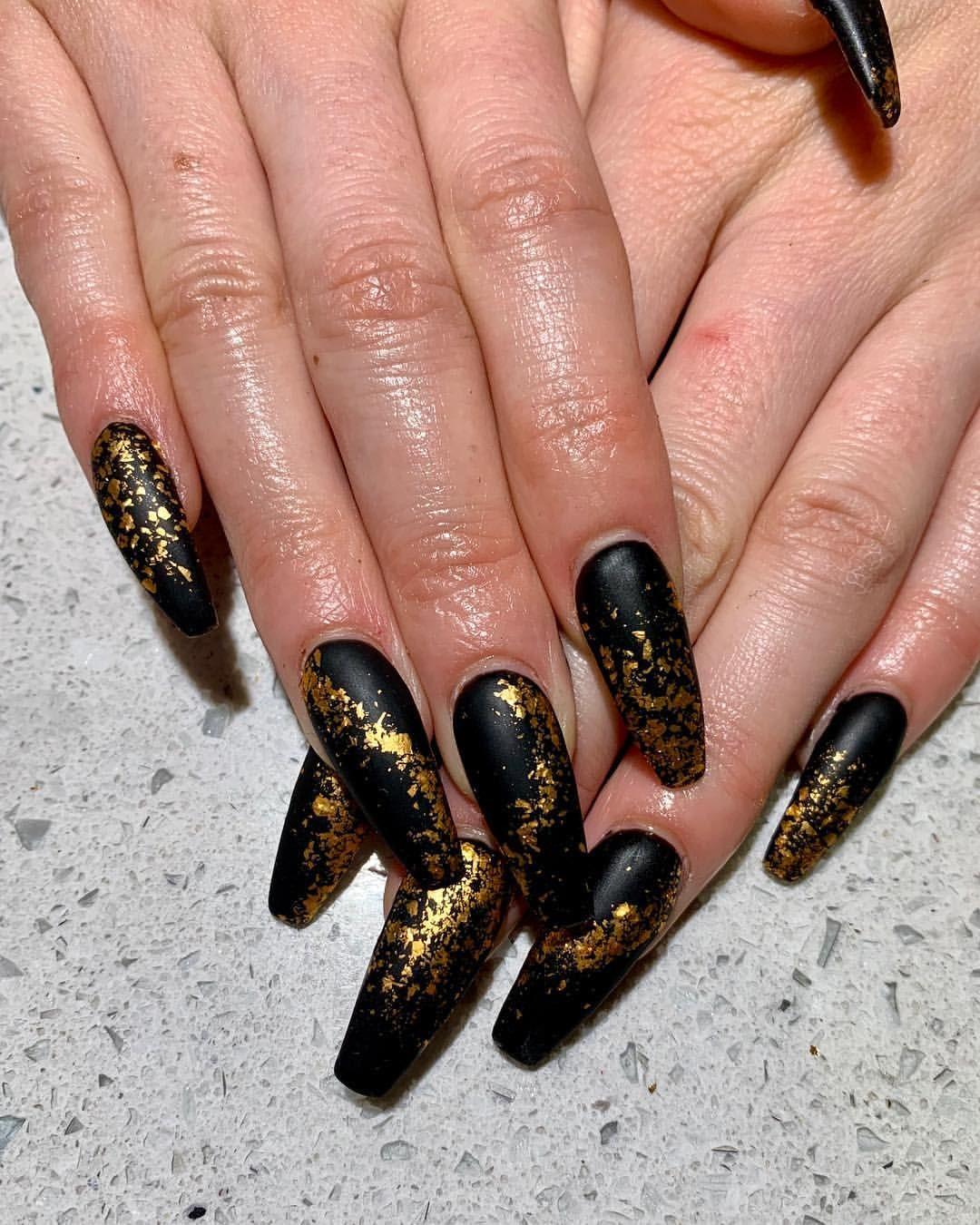 Acrylic Nails Black Nails Gold Nails Gold Flakes Nail Art Nail Design Matte Nails Long Nails Coffin Nai Black Gold Nails Gold Nails Black Acrylic Nails